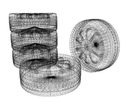 computer drawing of car wheel. 3d illustration
