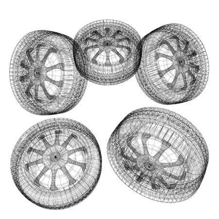 computer drawing of car wheel. Top view. 3d illustration