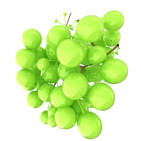 article icon: Healthy fruits Green wine grapes isolated white background. Bunch of grapes ready to eat. 3d illustration