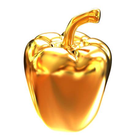 intact: Gold bulgarian pepper. 3d illustration