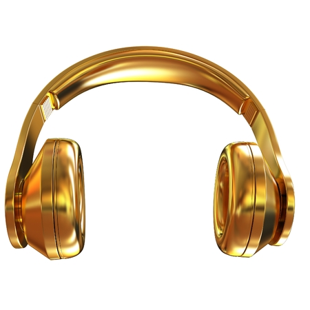 Gold headphones icon on a white background. 3D illustration Stock Photo