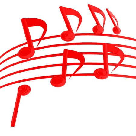 music notes  background. 3D illustration
