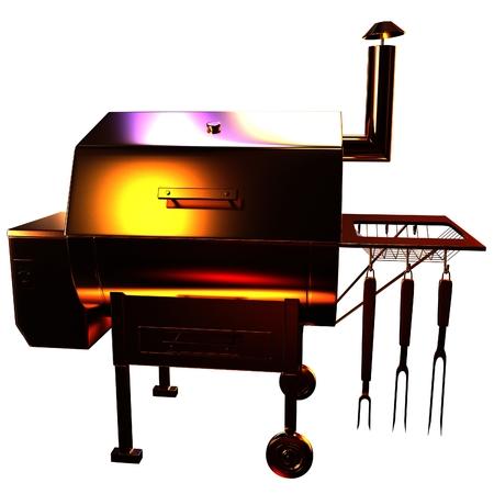 Gold BBQ Grill. 3d illustration