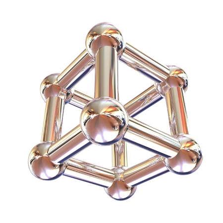 chrome: Structural chemical formula and model of molecule, 3d object illustration isolated on the white backgrpound. Stock Photo