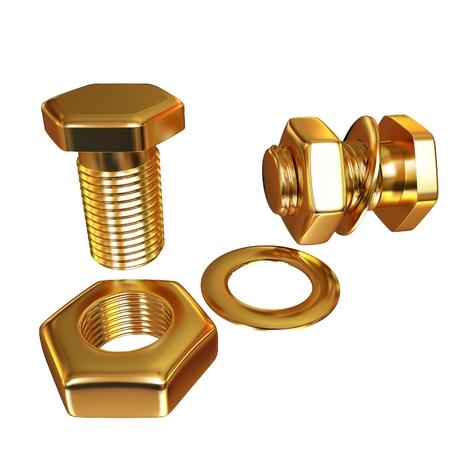 Perno de oro con tuerca. 3d ilustración