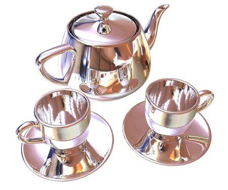 Chrome Teapot and mugs. 3d illustration