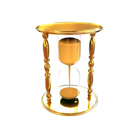 Golden Hourglass. 3d illustration