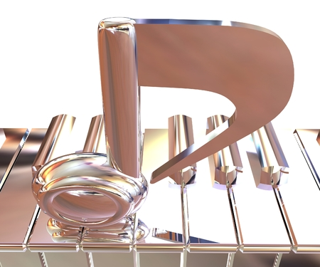 Chrome note on a piano. 3D illustration