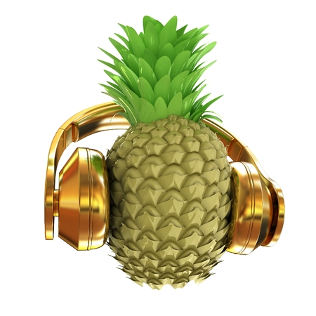 vitamin rich: Fashion gold pineapple with headphones listens to music. 3d illustration