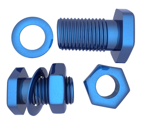 bolts and nuts: Screws and nuts set. 3d illustration