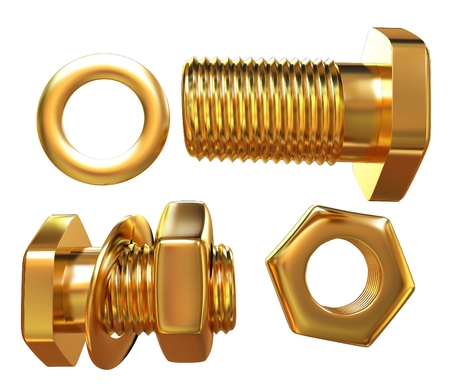 Gold Bolt with nut. 3d illustration Stock Photo