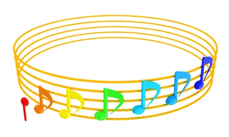 Various music notes on stave. Colorfull 3d. 3D illustration