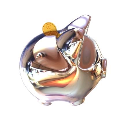 Piggy in Chrome Symbol for Financial Concepts. 3d illustration