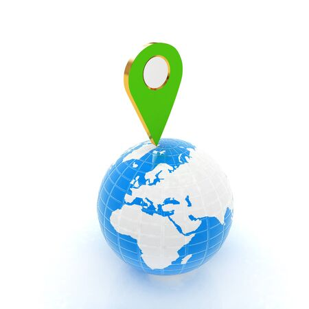 sights: Planet Earth and map pins icon. 3d illustration. Stock Photo