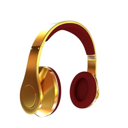 privilege: Golden headphones. 3d illustration
