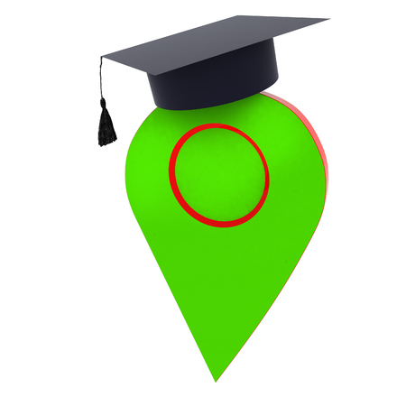 Geo pin with graduation hat on white. School sign, geolocation and navigation. 3d illustration Stock Photo