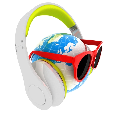 earphone: Earth planet with earphones and sunglasses. 3d illustration