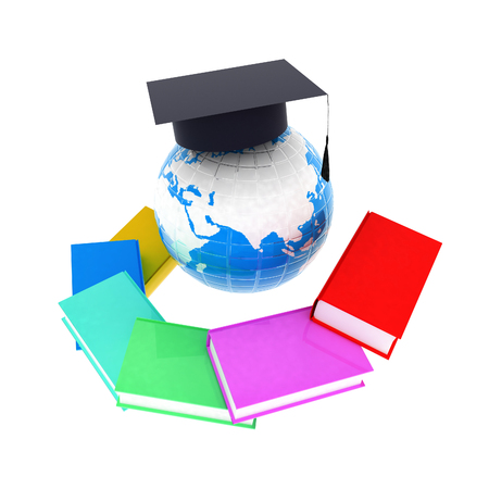Earth of education with books around and graduation hat. Global Education. 3d illustration Reklamní fotografie - 126244021