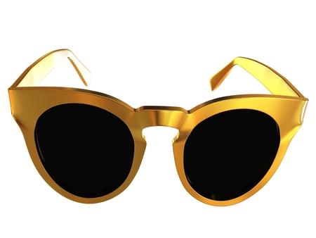 Cool gold sunglasses. 3d illustration