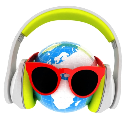 Earth planet with earphones and sunglasses. 3d illustration