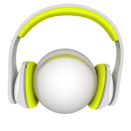 glistering: Headphones with metal ball. 3d illustration