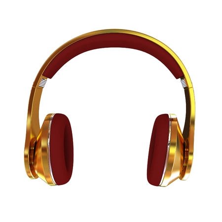 Golden headphones. 3d illustration