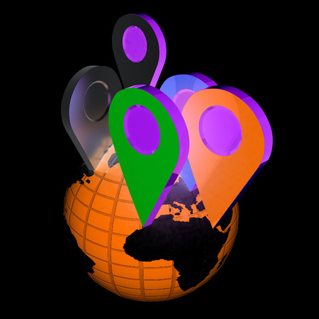 sights: Planet Earth and map pins icon. Earth globe and colorful map labels. Modern graphic elements for web banners, websites, printed materials, infographics. 3d illustration. Stock Photo