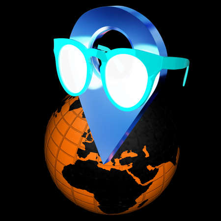 map pin: Glamour map pointer in sunglasses on Earth. 3d illustration