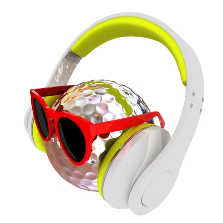 Metal Golf Ball With Sunglasses and headphones. 3d illustration