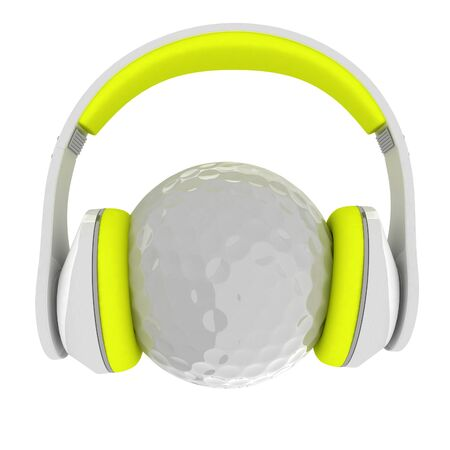 Golf ball with headset or headphones. 3D rendering Stock Photo
