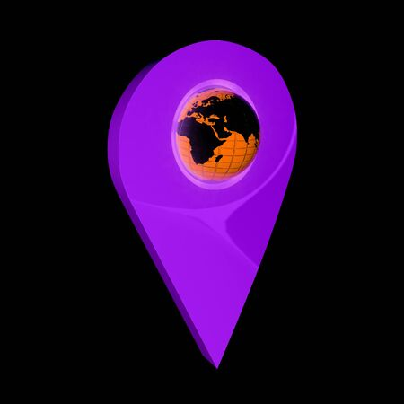 map pin: Realistic 3d pointer of map with Earth. Global concept. 3d illustration