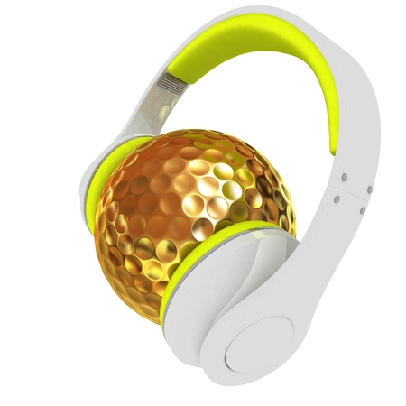 Gold Golf Ball With headphones. 3d illustration