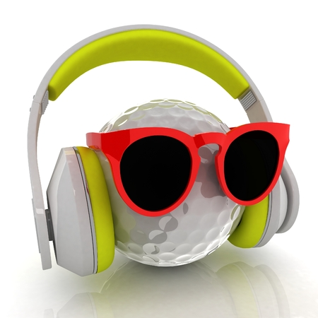 Golf Ball With Sunglasses and headphones. 3d illustration