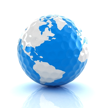 Conceptual 3d illustration. Golf ball world globe