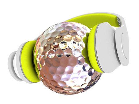 Metal Golf Ball With headphones. 3d illustration