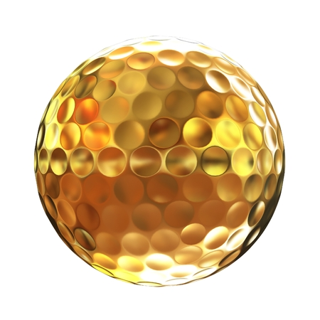 3d rendering of a golfball in gold