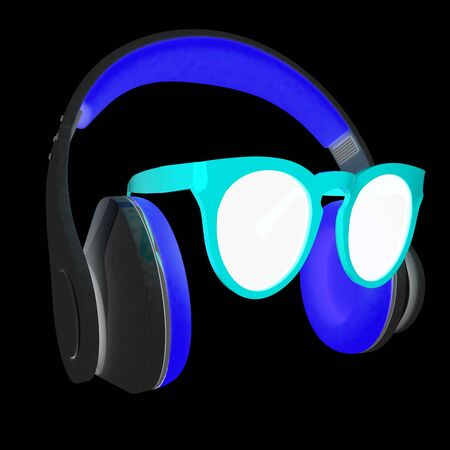 glass reflection: Sunglasses and headphone for your face. 3d illustration