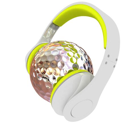Metal Golf Ball With headphones. 3d illustration