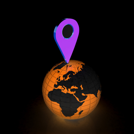geolocation: Planet Earth and map pins icon. 3d illustration. Stock Photo