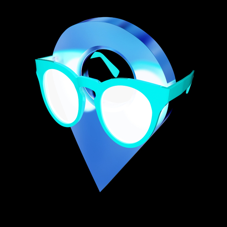 map pin: Glamour map pointer in sunglasses. 3d illustration Stock Photo