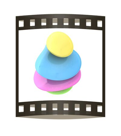 silent: Spa stones. 3D illustration. The film strip.