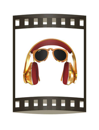 Sunglasses and headphone for your face. 3d illustration. The film strip. Stock Photo