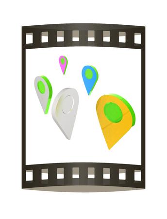 Realistic 3d pointer of map. 3d illustration. The film strip. Reklamní fotografie