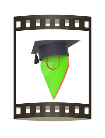 Geo pin with graduation hat on white. School sign, geolocation and navigation. 3d illustration. The film strip. Stock Photo
