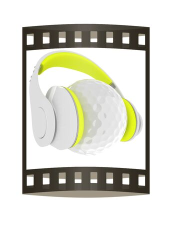 Golf ball with headset or headphones. 3D rendering. The film strip. Stock Photo