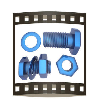 Screws and nuts set. 3d illustration. The film strip.