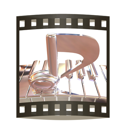 Chrome note on a piano. 3D illustration. The film strip.