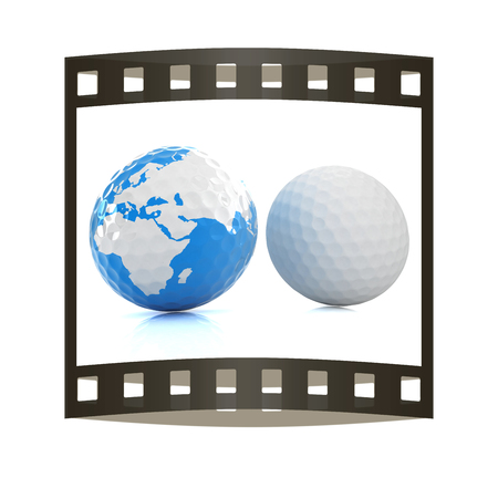 Conceptual 3d illustration. Golf ball world globe. The film strip.