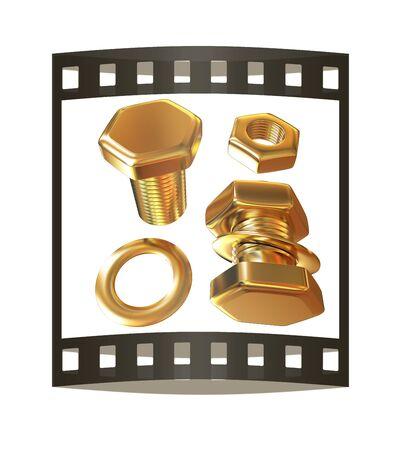 Perno de oro con tuerca. Ilustración 3d. La tira de la película. Foto de archivo