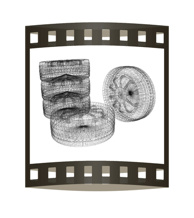 computer drawing of car wheel. Top view. 3d illustration. The film strip. Stock Photo